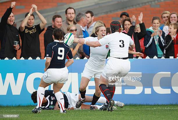 Danielle Waterman of England celebrates after scoring a try during the Women's Rugby World Cup 2010 Pool B Match between England and USA at Surrey...
