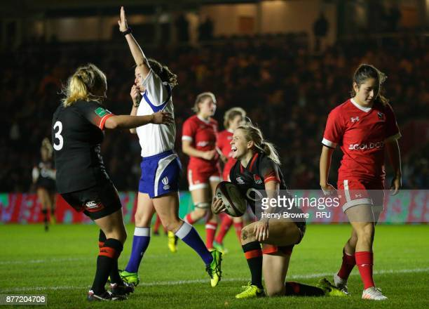 Danielle Waterman of England celebrates with Heather Kerr of England after scoring a try during the Old Mutual Wealth Series match between England...