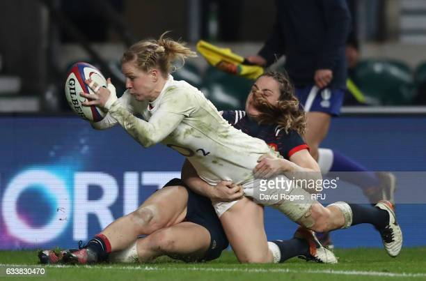 Danielle Waterman of England dives over to score a try during the Women's Six Nations match between England and France at Twickenham Stadium on...