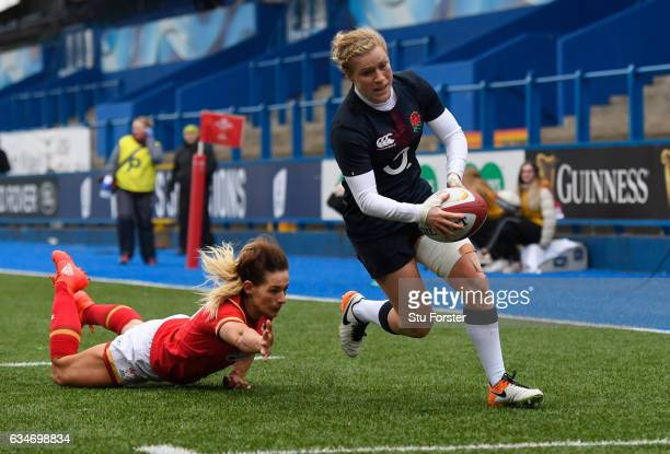 Danielle Waterman of England goes over to score her team's eighth try during the Womens Six Nations match between Wales and England at the Cardiff...