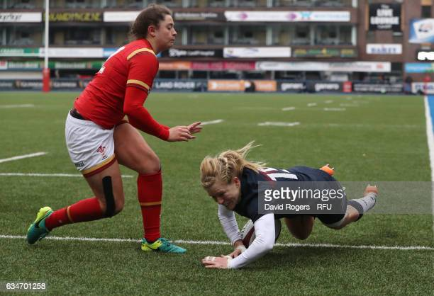 Danielle Waterman of England goes over to score her team's ninth try during the Womens Six Nations match between Wales and England at the Cardiff...
