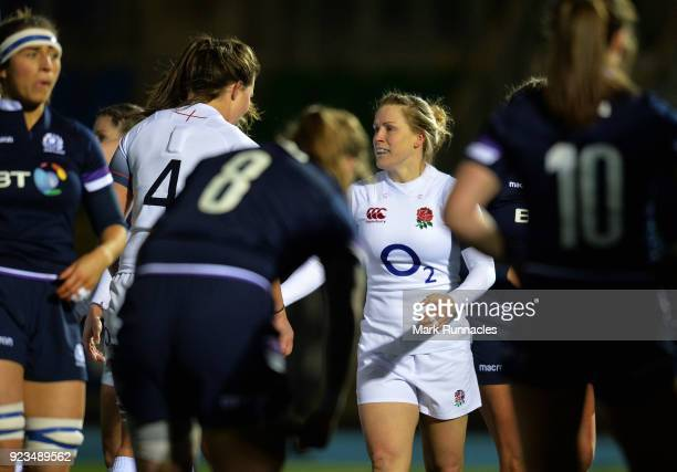 Danielle Waterman of England is congratulated by her team mates after scoring the first try of the game during the Natwest Women's Six Nations match...