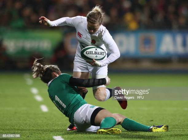 Danielle Waterman of England is tackled by Alison Miller of Ireland during the Women's Six Nations match between Ireland and England at Donnybrook...