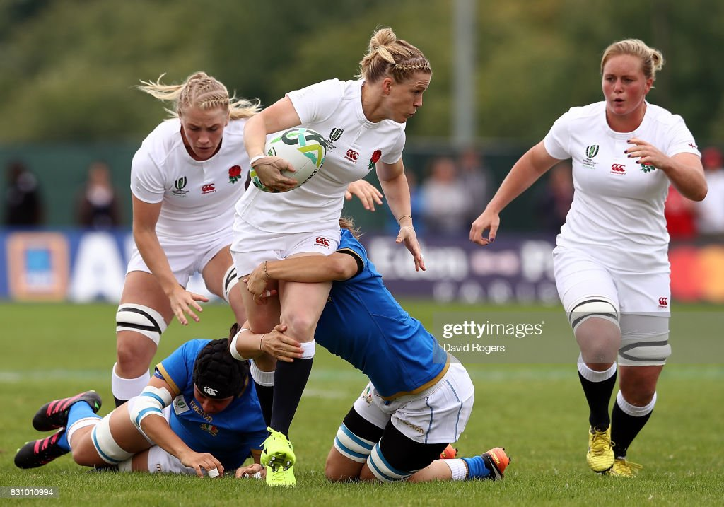 Danielle Waterman of England is tackled during the Women's Rugby World Cup 2017 between England and Italy on August 13, 2017 in Dublin, Ireland.
