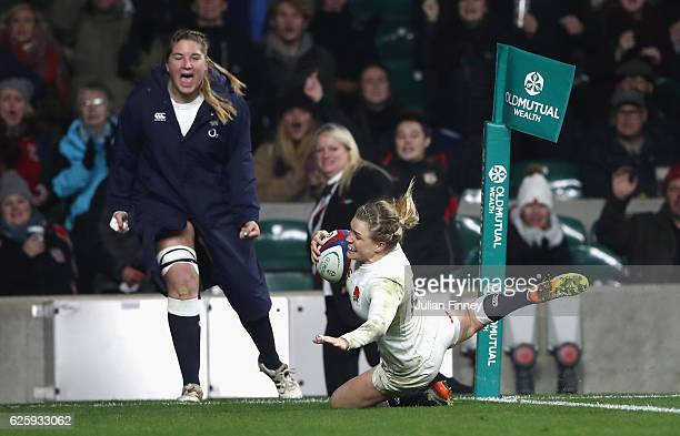 Danielle Waterman of England scores her sides third try during the Old Mutual Wealth Series Women's match between England and Canada at Twickenham...
