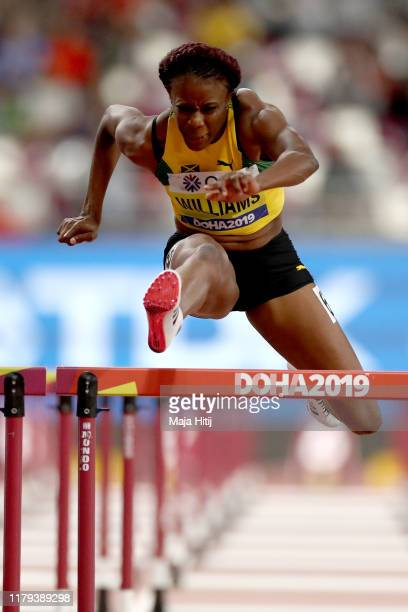 Danielle Williams of Jamaica competes in the Women's 100 metres hurdles semi finals during day ten of 17th IAAF World Athletics Championships Doha...
