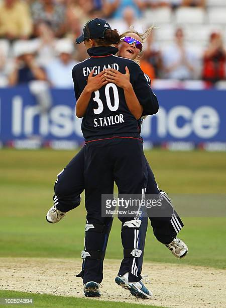 Danielle Wyatt celebrates with Sarah Taylor after she stumped Maria Fahey of New Zealand during the 1st Women's NatWest Twenty20 International match...