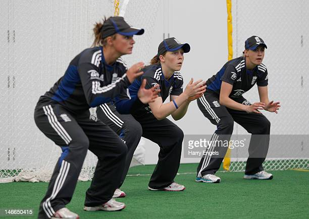 Danielle Wyatt Heather Knight Laura Marsh practice slip catching during a nets session at the National Cricket Performance Centre at Loughborough...