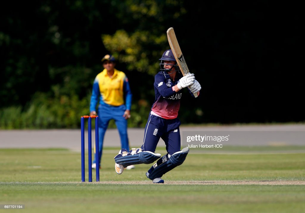 Danielle Wyatt of England hits out during The ICC Women's World Cup warm up match between England and Sri Lanka at Queens Park on June 19, 2017 in Chesterfield, England.