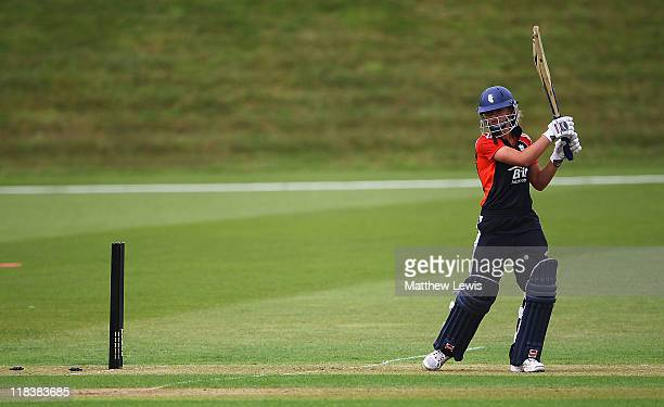 Danielle Wyatt of England looks on after being bowled by Sarah Coyte of Australia during the NatWest Women's Quadrangular Series Final between...