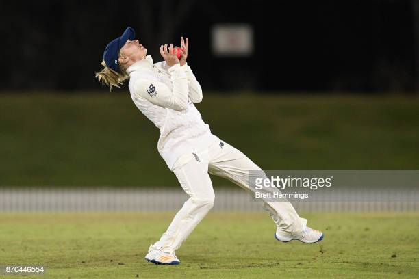 Danielle Wyatt of England takes a catch to dismiss Sarah Aley of CAXI during day three of the Women's Tour match between England and the Cricket...