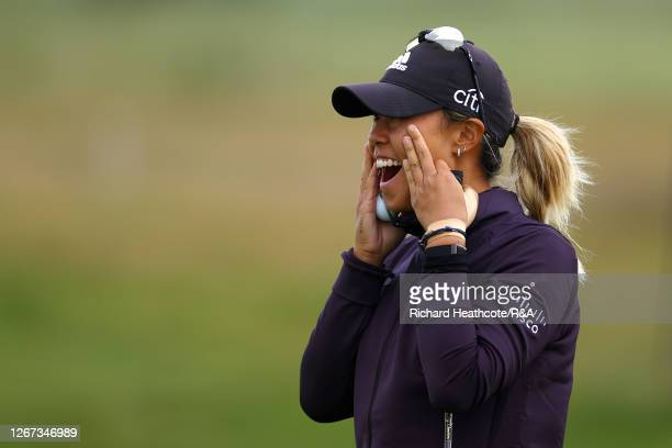 Danielle Kang of The United States of America reacts to An eagle on the 16th hole during Day One of the 2020 AIG Women's Open at Royal Troon on...