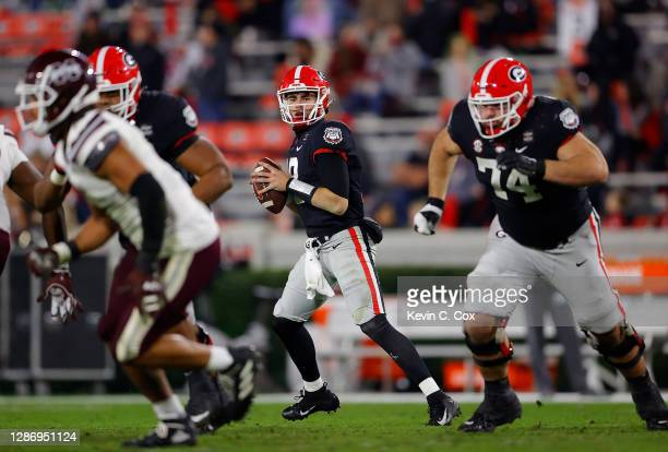 Daniels of the Georgia Bulldogs looks to pass against the Mississippi State Bulldogs during the first half at Sanford Stadium on November 21, 2020 in...