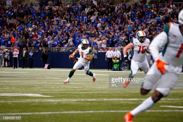 Daniels of the Seattle Dragons scrambles during the XFL game against the St. Louis BattleHawks at The Dome at America's Center on February 29, 2020...