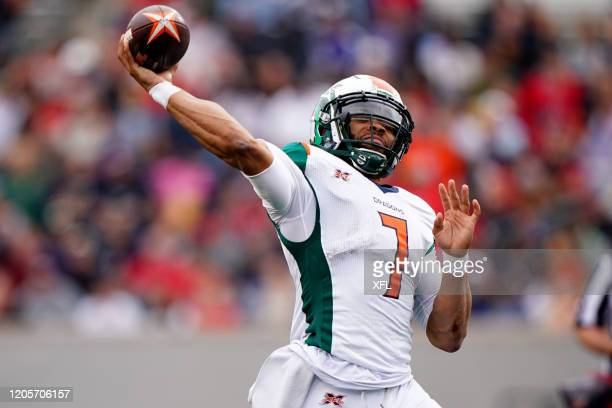 J Daniels of the Seattle Dragons throwing a pass during the XFL game against the Houston Roughnecks at TDECU Stadium on March 7 2020 in Houston Texas