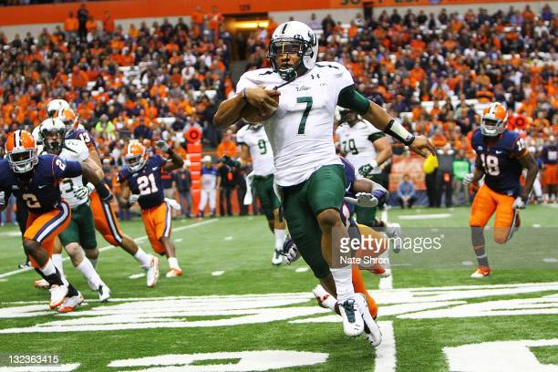 J Daniels of the South Florida Bulls runs the ball against the Syracuse Orange during the game at the Carrier Dome on November 11 2011 in Syracuse...