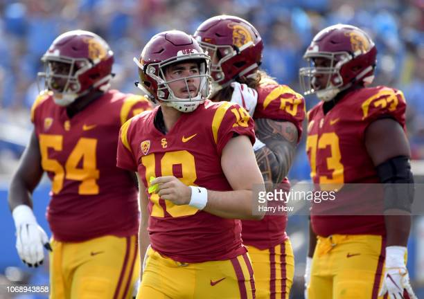 Daniels of the USC Trojans reacts after a stop on third down by the UCLA Bruins defense during the first half at Rose Bowl on November 17 2018 in...