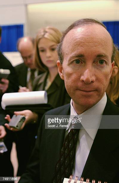 Office of Management and Budget Director Mitchell E. Daniels, Jr., talks to reporters after addressing the Association of Government Accountants at...