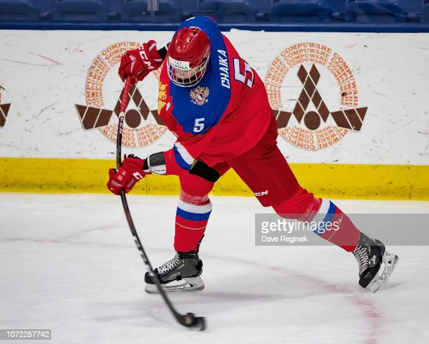 Daniil Chayka of the U17 Russian Nationals takes a slap shot against the Slovakia Nationals during day2 of game one of the 2018 Under17 Four Nations...