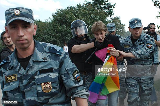 CONTENT] Daniil Grachev a gay rights activist arrested by riot police during a Gay Pride event in St Petersburg June 29 2013 Demonstrating LGBT...
