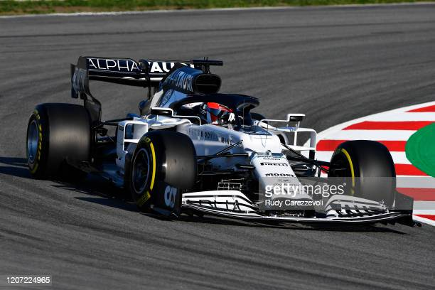Daniil Kvyat driving the Scuderia AlphaTauri AT01 Honda on track during day one of Formula 1 Winter Testing at Circuit de Barcelona-Catalunya on...