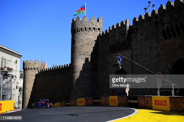 Daniil Kvyat driving the Scuderia Toro Rosso STR14 Honda on track during the F1 Grand Prix of Azerbaijan at Baku City Circuit on April 28, 2019 in...