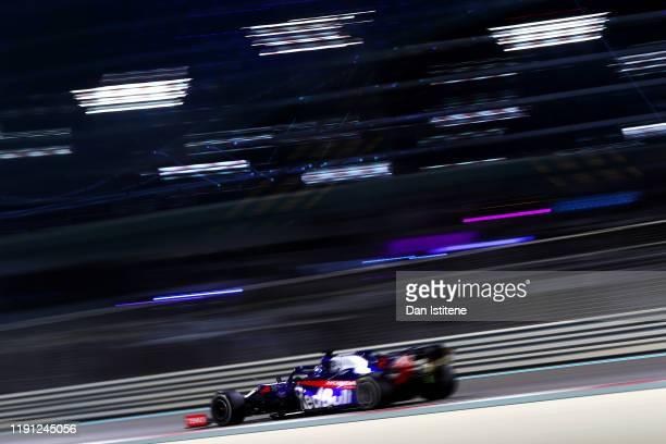 Daniil Kvyat driving the Scuderia Toro Rosso STR14 Honda on track during the F1 Grand Prix of Abu Dhabi at Yas Marina Circuit on December 01 2019 in...