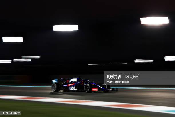 Daniil Kvyat driving the Scuderia Toro Rosso STR14 Honda on track during the F1 Grand Prix of Abu Dhabi at Yas Marina Circuit on December 01, 2019 in...