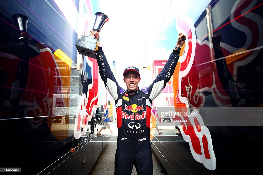 Daniil Kvyat of Russia and Infiniti Red Bull Racing celebrates after finishing second in the Formula One Grand Prix of Hungary at Hungaroring on July 26, 2015 in Budapest, Hungary.