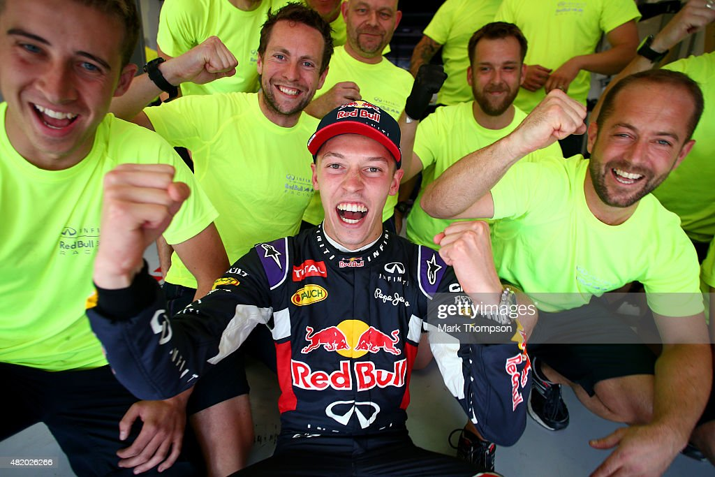 Daniil Kvyat of Russia and Infiniti Red Bull Racing celebrates with his team after finishing second in the Formula One Grand Prix of Hungary at Hungaroring on July 26, 2015 in Budapest, Hungary.