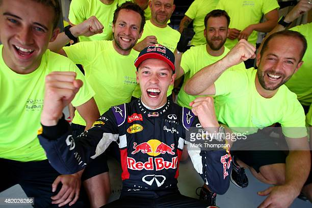 Daniil Kvyat of Russia and Infiniti Red Bull Racing celebrates with his team after finishing second in the Formula One Grand Prix of Hungary at...