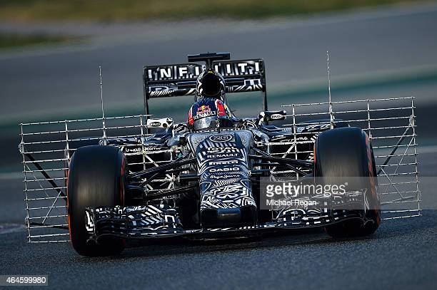 Daniil Kvyat of Russia and Infiniti Red Bull Racing drives during day two of the final Formula One Winter Testing at Circuit de Catalunya on February...
