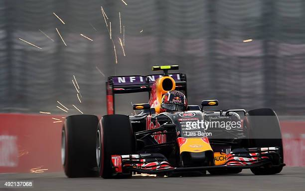 Daniil Kvyat of Russia and Infiniti Red Bull Racing drives during qualifying for the Formula One Grand Prix of Russia at Sochi Autodrom on October 10...