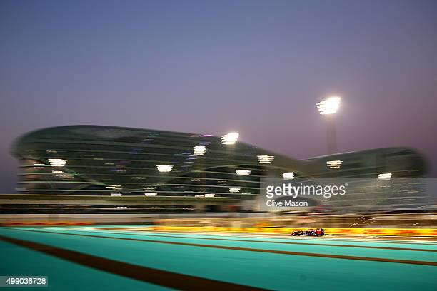 Daniil Kvyat of Russia and Infiniti Red Bull Racing drives during qualifying for the Abu Dhabi Formula One Grand Prix at Yas Marina Circuit on...