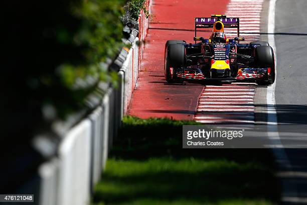Daniil Kvyat of Russia and Infiniti Red Bull Racing drives uring qualifying for the Canadian Formula One Grand Prix at Circuit Gilles Villeneuve on...