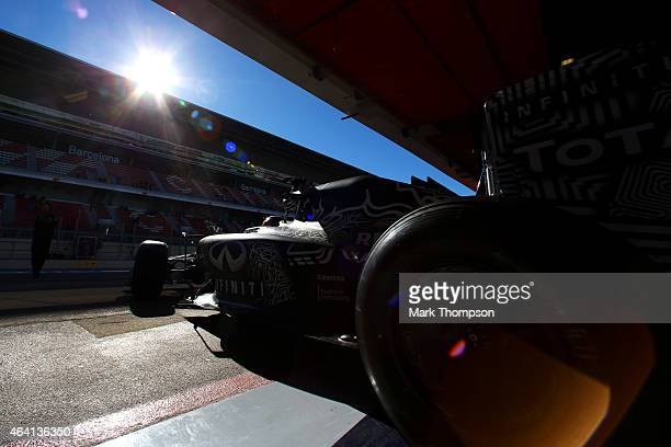 Daniil Kvyat of Russia and Infiniti Red Bull Racing exits the garage during day four of Formula One Winter Testing at Circuit de Catalunya on...