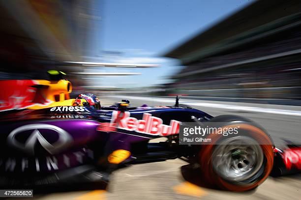 Daniil Kvyat of Russia and Infiniti Red Bull Racing exits the garage during practice for the Spanish Formula One Grand Prix at Circuit de Catalunya...