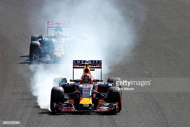 Daniil Kvyat of Russia and Infiniti Red Bull Racing locks up during the Formula One Grand Prix of Japan at Suzuka Circuit on September 27 2015 in...