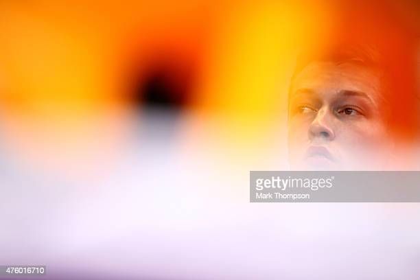 Daniil Kvyat of Russia and Infiniti Red Bull Racing looks on during practice for the Canadian Formula One Grand Prix at Circuit Gilles Villeneuve on...
