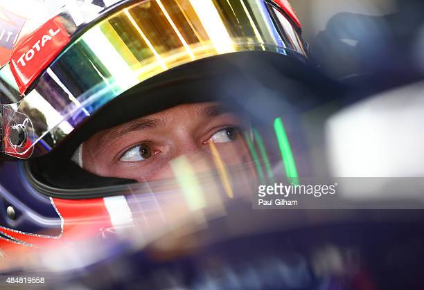 Daniil Kvyat of Russia and Infiniti Red Bull Racing looks on from his cockpit during final practice for the Formula One Grand Prix of Belgium at...