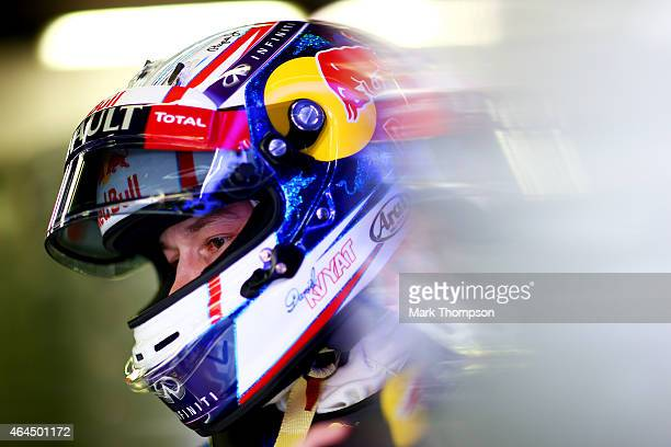Daniil Kvyat of Russia and Infiniti Red Bull Racing looks on in the garage during day one of the final Formula One Winter Testing at Circuit de...