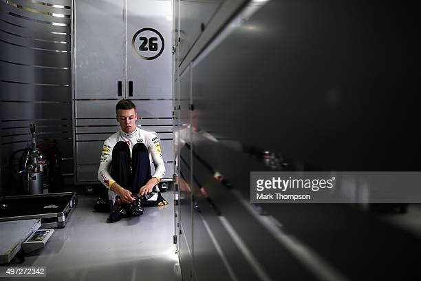 Daniil Kvyat of Russia and Infiniti Red Bull Racing prepaduring the Formula One Grand Prix of Brazil at Autodromo Jose Carlos Pace on November 15...