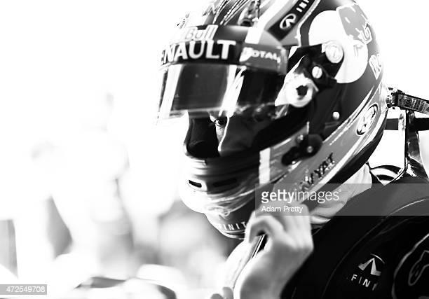 Daniil Kvyat of Russia and Infiniti Red Bull Racing prepares in the garage during practice for the Spanish Formula One Grand Prix at Circuit de...