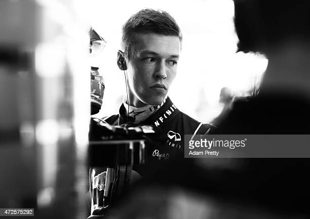 Daniil Kvyat of Russia and Infiniti Red Bull Racing prepares in the garage during practice for the Spanish Formula One Grand Prix at Circuit de...