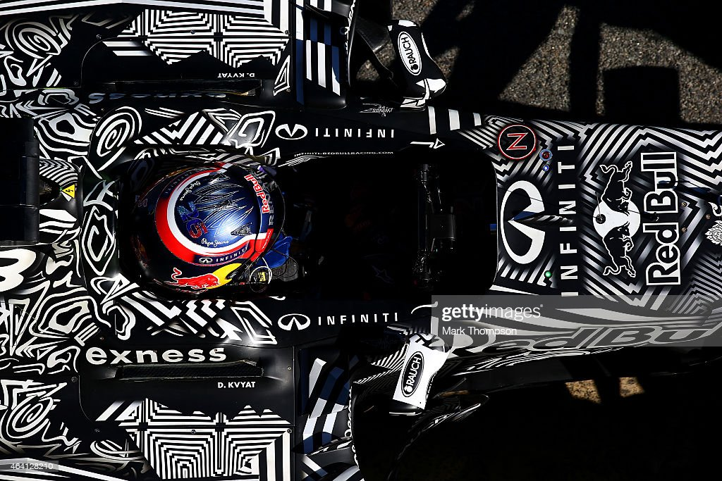 Daniil Kvyat of Russia and Infiniti Red Bull Racing returns to the garage during day four of Formula One Winter Testing at Circuit de Catalunya on February 22, 2015 in Montmelo, Spain.