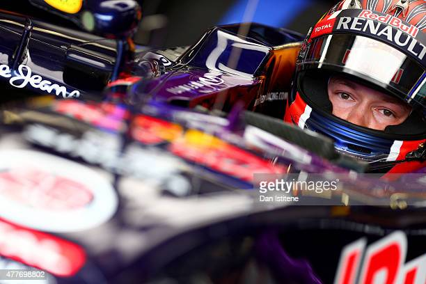Daniil Kvyat of Russia and Infiniti Red Bull Racing sits in his car in the garage during practice for the Formula One Grand Prix of Austria at Red...