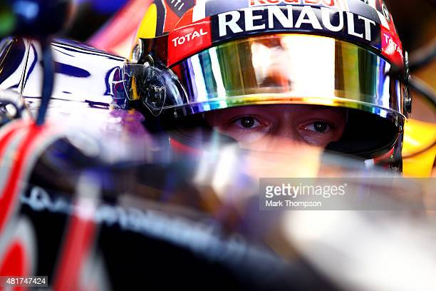 Daniil Kvyat of Russia and Infiniti Red Bull Racing sits in his car in the garage during practice for the Formula One Grand Prix of Hungary at...