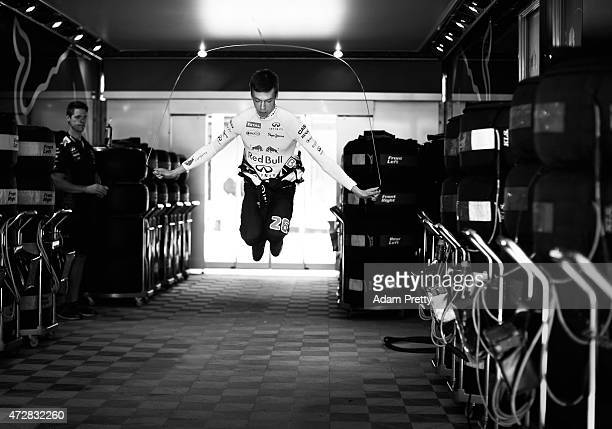 Daniil Kvyat of Russia and Infiniti Red Bull Racing warms up before practice for the Spanish Formula One Grand Prix at Circuit de Catalunya on May 8,...