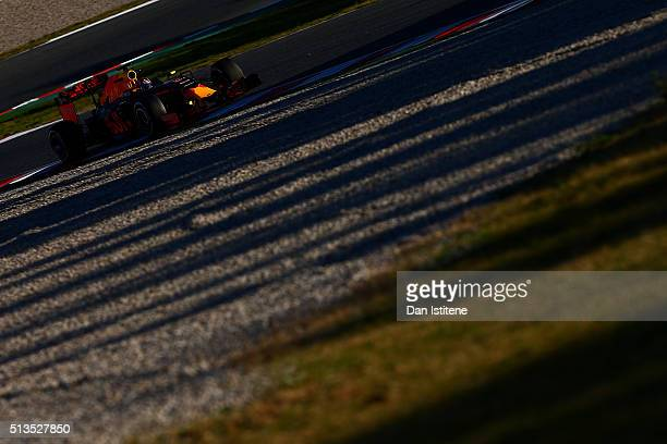 Daniil Kvyat of Russia and Red Bull Racing drives during day three of F1 winter testing at Circuit de Catalunya on March 3 2016 in Montmelo Spain