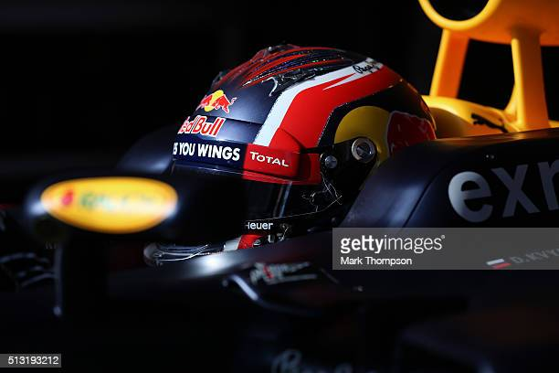 Daniil Kvyat of Russia and Red Bull Racing prepares to exit the garage during day four of F1 winter testing at Circuit de Catalunya on February 25...